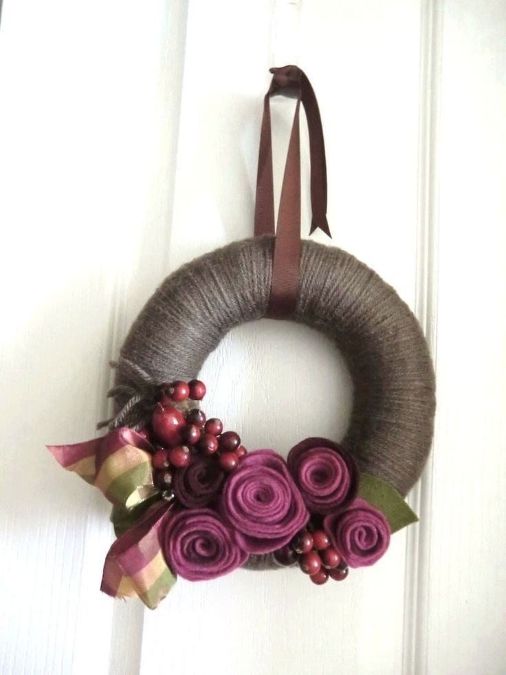 Purple flower and wool wreath.