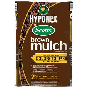 Hyponex Mulch, Brown  supposedly this one lasts longer for color I think it was.  I called scotts to find out the difference between the hyponex and earth gro.  Both scotts products of brown mulch.  Hyponex at walmart.