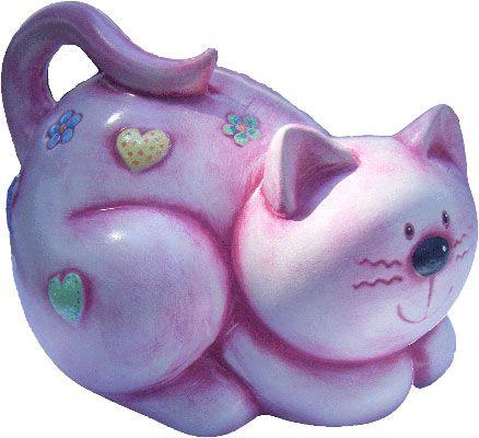 Gato de cerámica pintada a mano. medidas: 36x35cm www.barenka.com