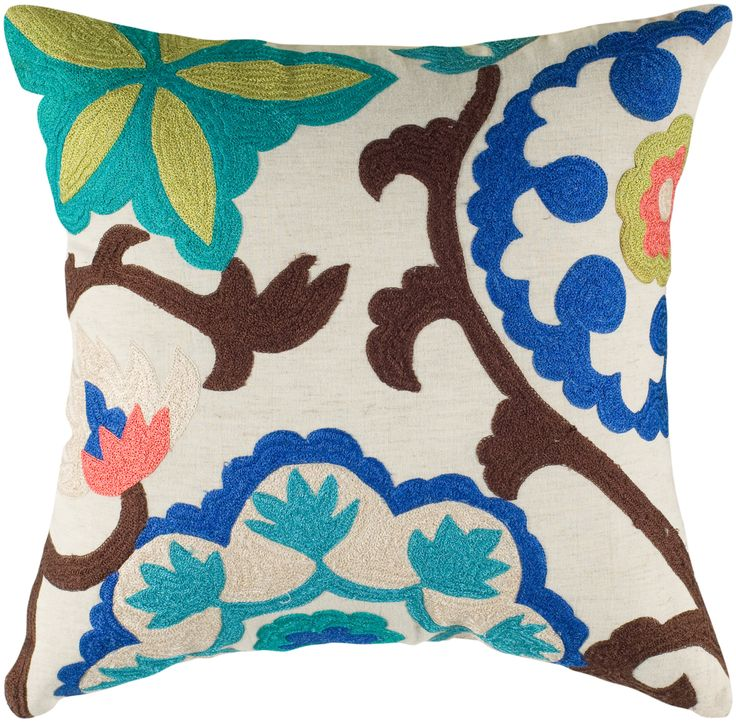 """Embroidered Natural Pillow Cover (18"""" x 18"""")"""