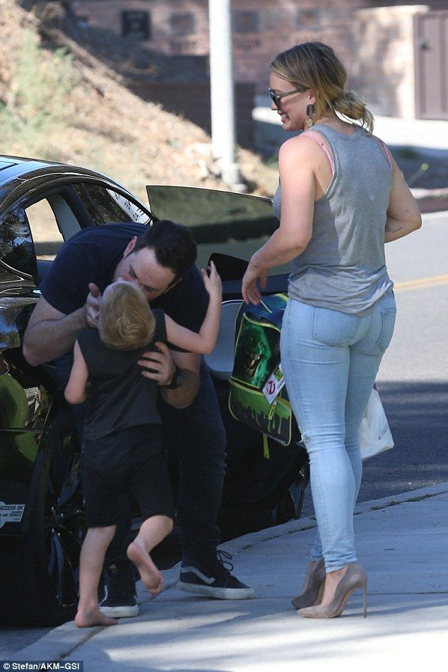 See you again soon: NHL star Mike, 36, was seen giving Luca, four,a warm embrace as they s...