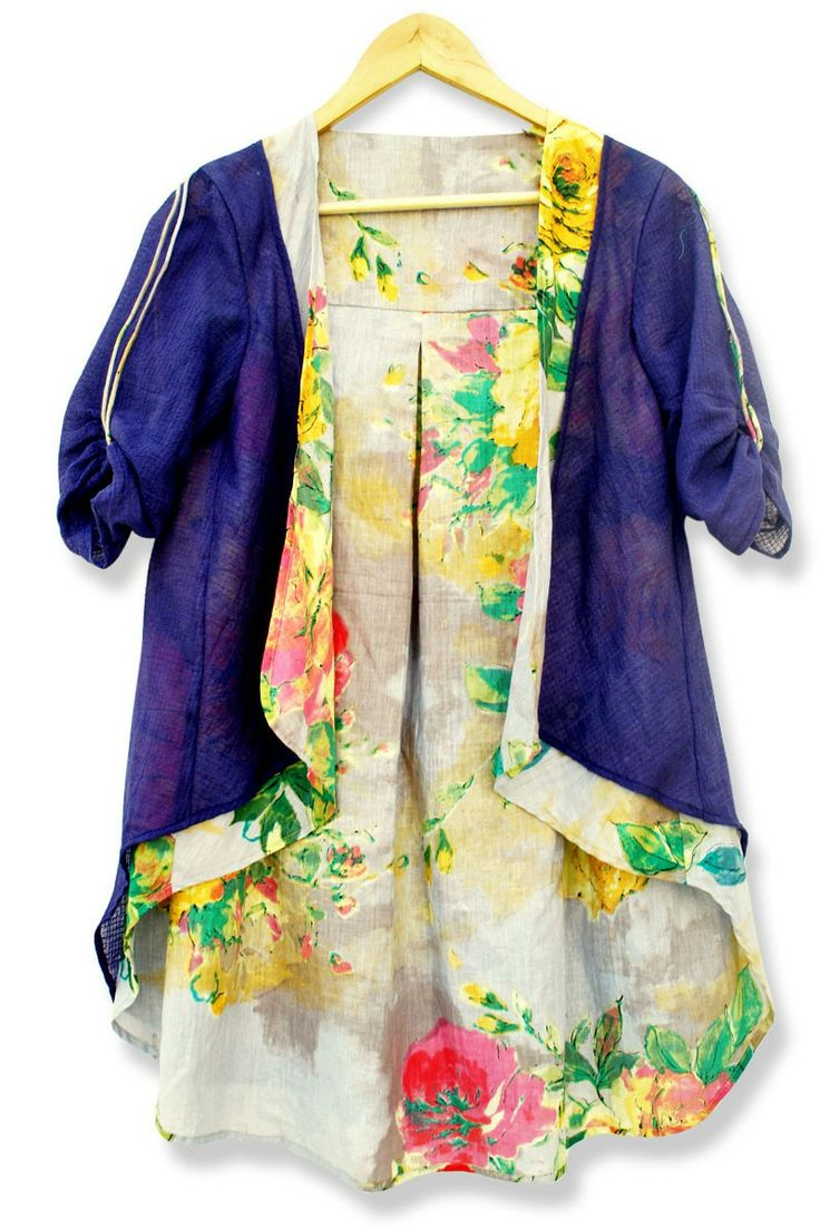 Layered Floral Jacket - A basic indigo jacket gets a floral makeover with a colourful printed lining. Open front with a layered lapel, the jacket features a back dip. Crafted in the softest of cottons, it feels like wearing nothing.  Colour :  Indigo, Floral.  Fabric :  100% Cotton.  Care :  Wash according to instructions on the care label.  Estimated delivery within 7 - 14 days after ordering.