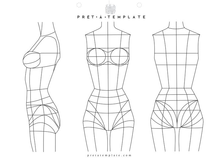 Underwear Woman body figure fashion template (D-I-Y your own Fashion Sketchbook)