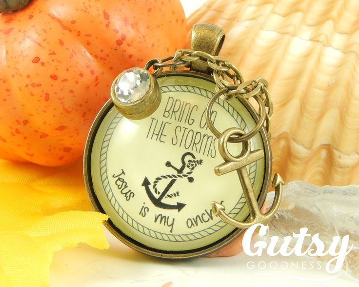 My newest creation makes a great #giftidea Survivor Necklace Bring on the Storms Anchor Inspirational Encouragement Gift Illness Cancer Survivor Hope in Jesus Faith Necklace (18.00 USD) from GutsyGoodness
