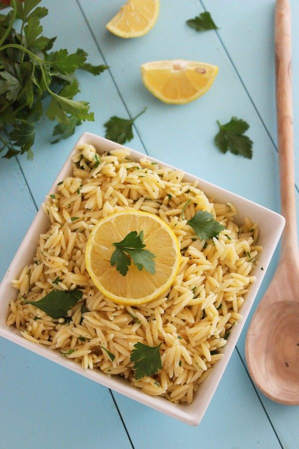 Lemon Butter Orzo with Parsley – Buttery and tangy, with bright lemon flavor! This orzo is a perfect side to grilled, baked or roasted meats and fish! | thecomfortofcooking.com