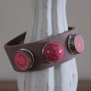 Armband oud roze maat M, compleet