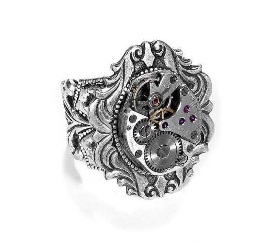 Steampunk Jewelry Ring Vintage Ruby Jewel Watch Adjustable SILVER Art Nouveau GORGEOUS Wedding Anniversary - Steampunk Jewelry by edmdesigns on Etsy, $75.00