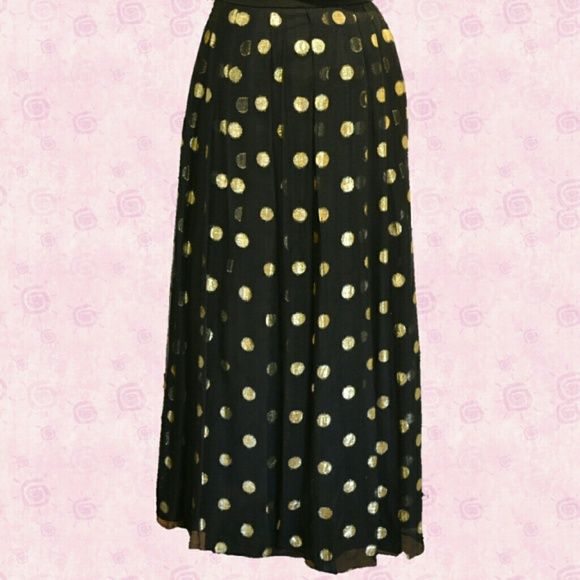 """Skirt Vintage Yvette elegant design Paris black skirt with gold Mylar 1 inch dots  with black lining . It is 37 inches long. size 36 euro/ 8 U.S.the waist is a set in waist and measures 29.5"""" with a Back zipper Yvette  Dresses"""