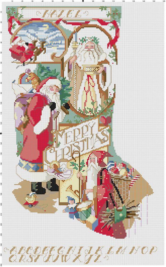 Santa Collage Stocking Counted Cross Stitch Pattern