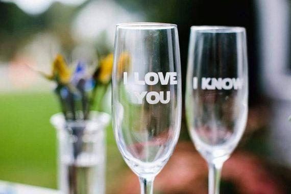 "Star Wars Inspired Champagne Glasses Set – ""I love you"" ""I know"" – Star Wars wedding – geek wedding – Han and Leia glasses"