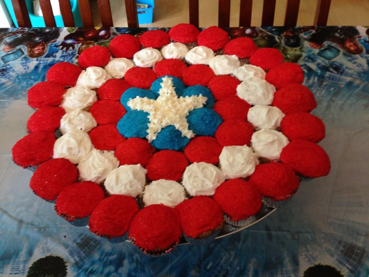 Captain America Shield cake made from cupcakes. Benson s ...