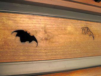 蝙蝠(こうもり)の柄が入った欄間
