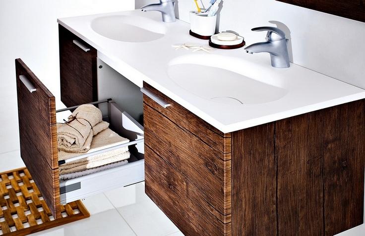 Modular KTS bathroom furniture collection with wood pattern / łazienka umywalka #bathroom #furniture #washbasin #wood #umywalka #cabinet