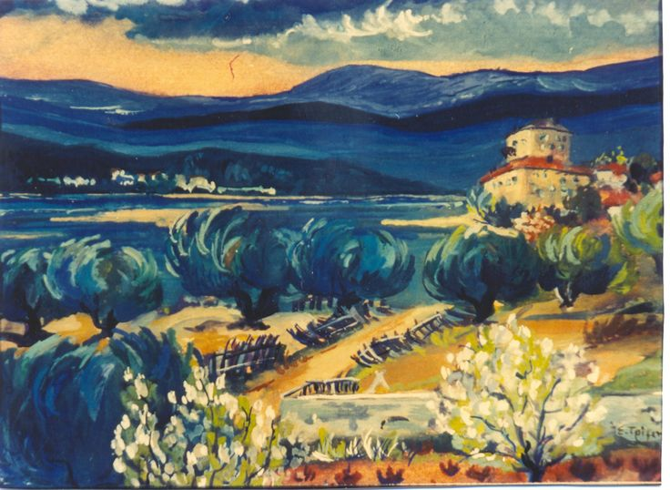 Ο Πύργος της Ουρανούπολης. The tower of Ouranoupolis, Halkidiki, Greece. Tempera. All rights reserved.