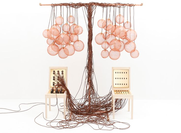 two digital sculptural installations by kouichi okamoto are both designed around the idea of 'switches': an integrated circuit of chairs and hanging lamps, and a DJ panel comprising 504 music box movements. video after the jump.