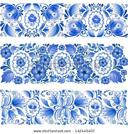 Russian traditional blue vector ornamental lines in gzhel style - stock vector
