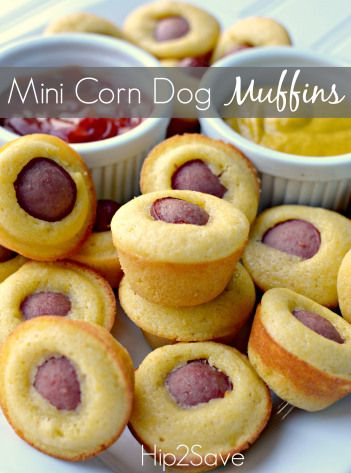 Mini Corn Dog Muffins Hip2Save - not super healthy, but they look so good!