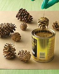 How to sparkle your pinecones.   1. Use wire/fishing line to create a handle for the pinecone.  2. Dip into silver/gold/colored paint can upside down.  3. Allow excess paint to drip off so the pinecone is not fully coated.  4. If desired - sprinkle glitter on the edges of the pinecone for added sparkle.  5. Allow to dry fully before decorating.