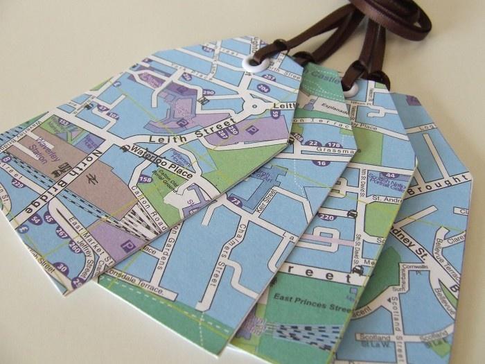 Map print gift tags