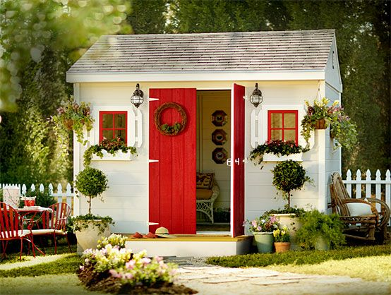 Her shed  The busy lady's custom shed is a truly comforting place — for losing herself in another 20 pages of a novel or writing a heartfelt thank-you note. It's got room for keeping things organized, or for getting messy with creative projects.