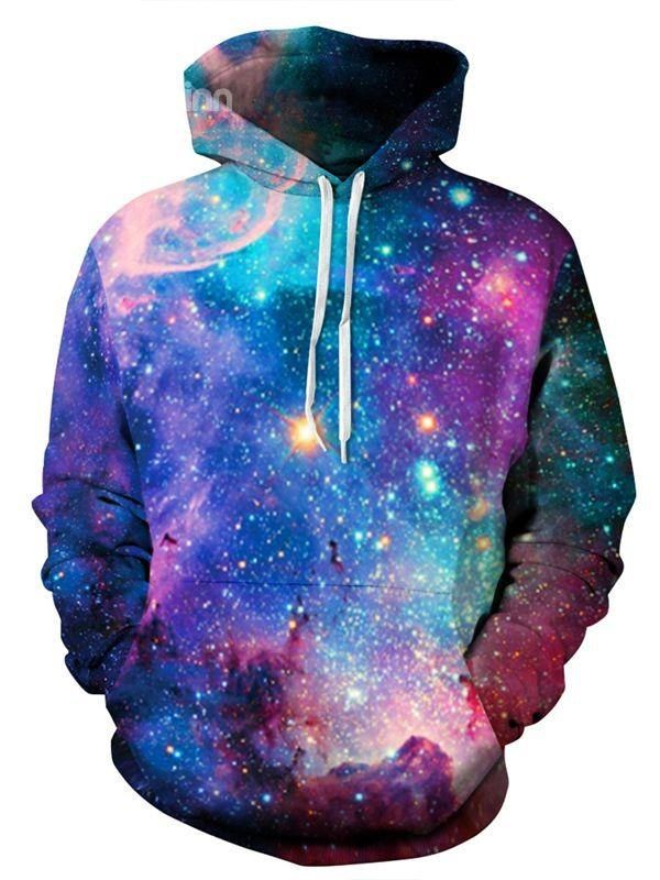 Fashion Long Sleeve Galaxy Pattern 3D Painted Hoodie