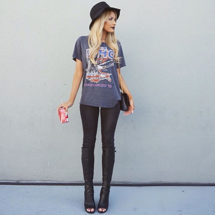 The Who band tee + open toed boots + black hat. With a leather skirt maybe