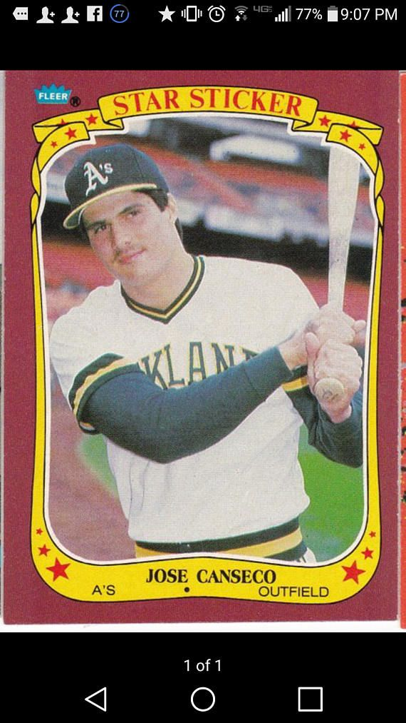 Jose canseco 1986 rookie card fleer by NICORPnumismaticsDW on Etsy