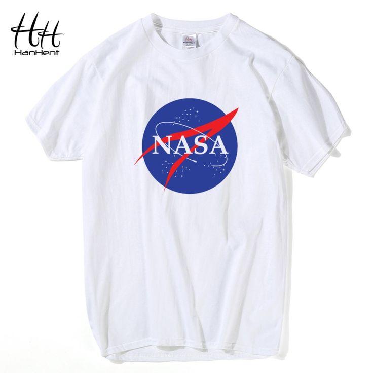HanHent NASA T-shirt Mens Desain Baru Musim Panas Dicetak Cotton Pria kaos Binaraga Kasual Kebugaran Lucu Tops Tees TA0376