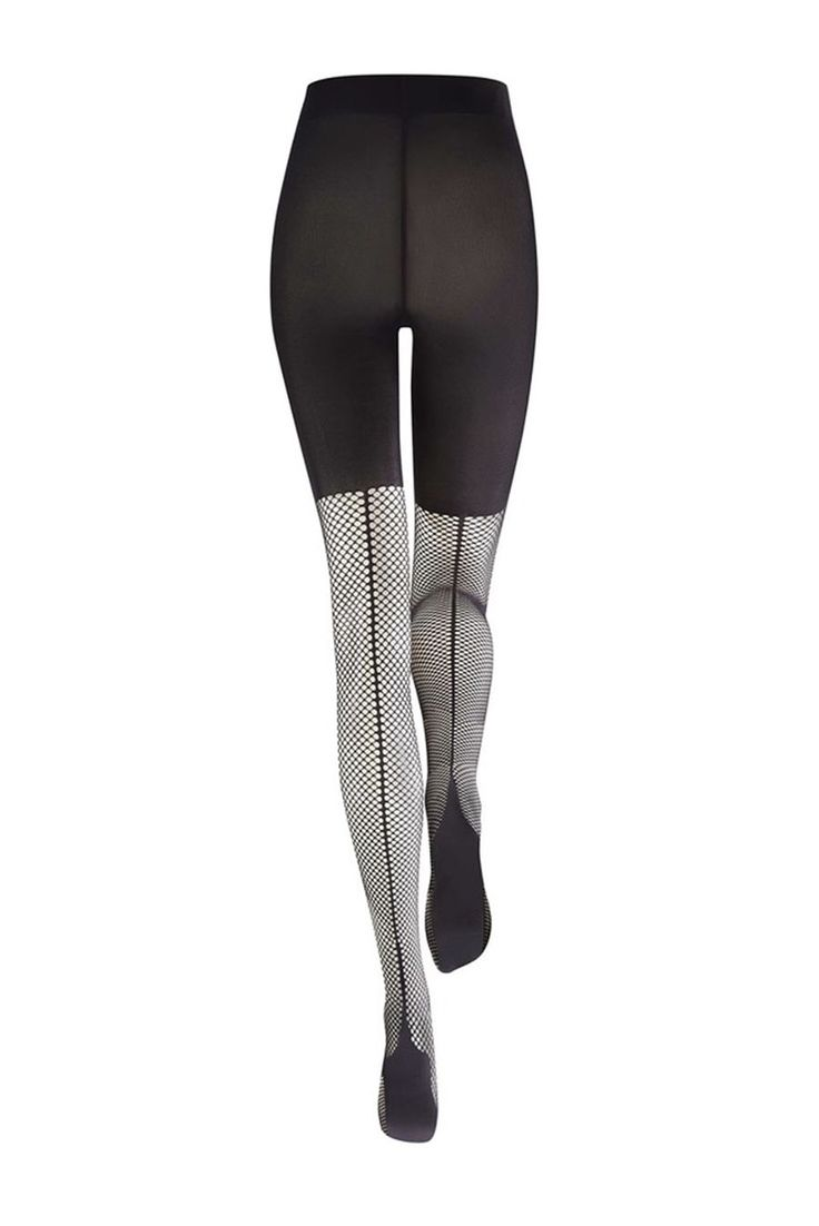Kunert Sensual Look Black Women`s Tights, form-fitting, runstop, not reinforced toe, fitted heel, cut out material, slightly elastic fabric