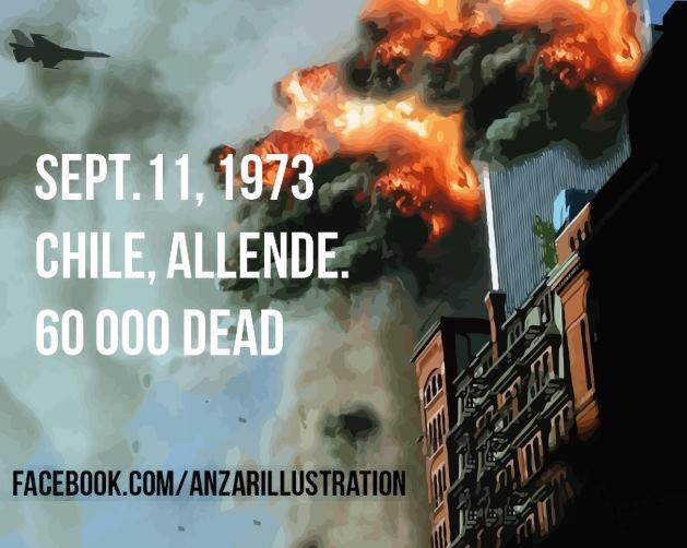 On September 11th 1973, US-backed General Pinochet overthrew the democratically elected leader of Chile, Salvadore Allende. Pinochet ordered an air strike on the Presidential Palace, labor activists and famous folk guitarists were rounded up for torture, disappeared, and killed. Pinochet converted the national football stadium into a detention facility like Guantanamo Bay. Chile's economy was turned into a plantation for the 1%, as inequality and poverty skyrocketed