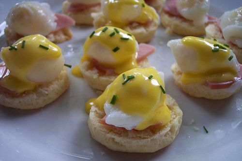Miniature Eggs Benedict (made with quail eggs). Will have to find an occasion to make these.