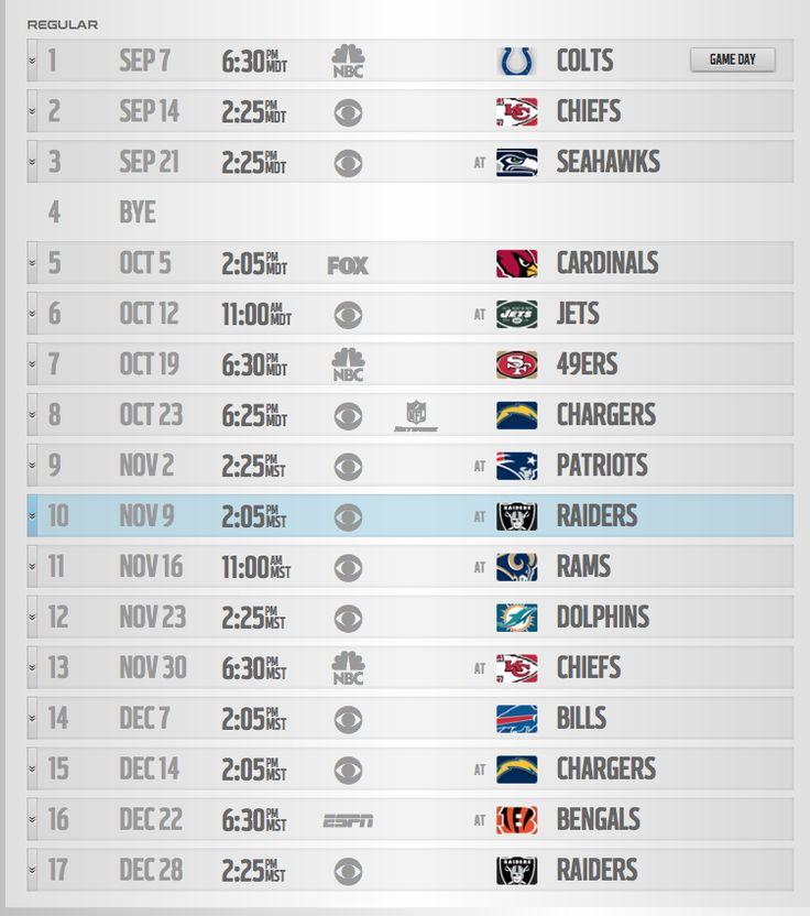 Bronco's Schedule 2014