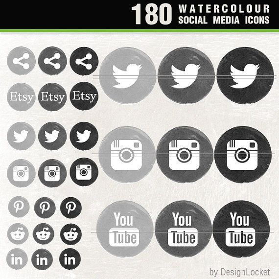 180 Watercolour Social Media Icon Pack, Black & Grey Shades