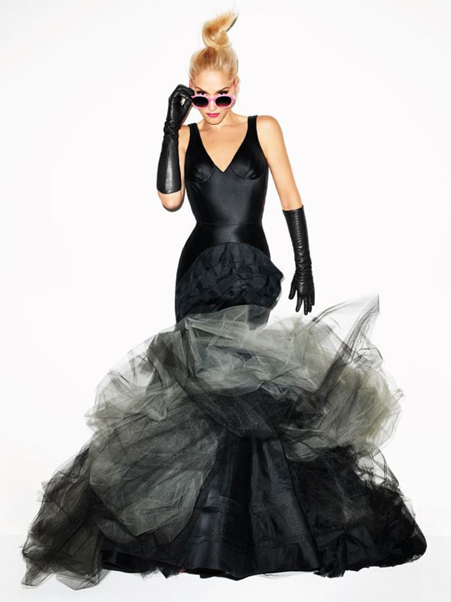 Magazine: Harper's Bazaar | Photographer: Terry Richardson | Editor: Lori Goldstein  Vera Wang Fall 2012 Bridal Collection | Janice: Black bias cut crepe-back satin V-neck mermaid gown with open back and tumbled tulle laser cut scallop skirt with washed organza flange