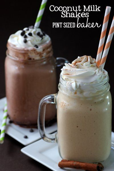 """Pint Sized Baker: WLW - Holiday """"Milk"""" Shakes - Mint Chocolate and Pumpkin Spice Protein Shakes."""