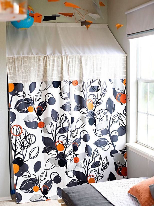 Hide clutter with coordinating fabric and a tension rod...brilliant!