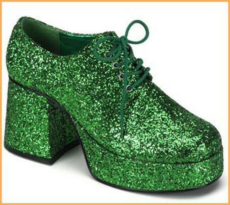 Men S Leprechaun Green Glitter Shoes 47 83 Stand Tall In
