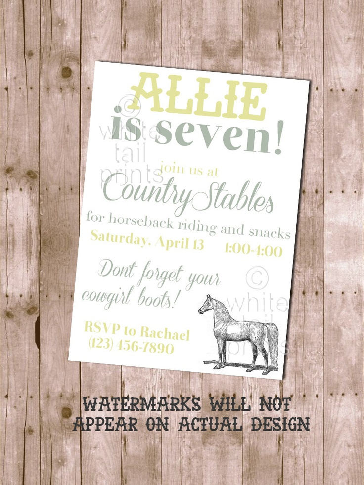 Best Horseback Riding Bday Party Ideas Images On Pinterest - Horseback riding birthday invitation