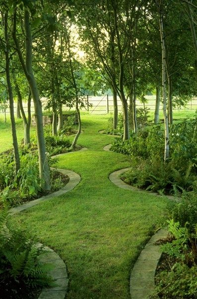 Love this look for a large lawn. Pathway with bordered islands of greenery.