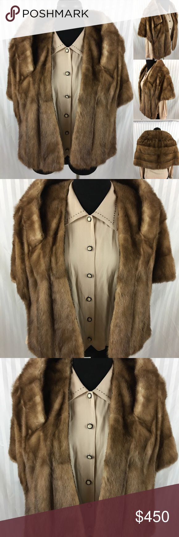 Vintage Blonde Mink Shawl This is in great condition! Mink fur, lining is in good condition. Does has the name Vivian in it, and a small hole, by the pocket! One size fits most, pair with your favorite distress jeans to make a fabulous statement!!! Vintage Jackets & Coats Capes