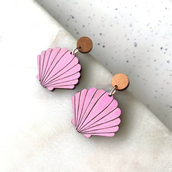 Pink baby fan earrings