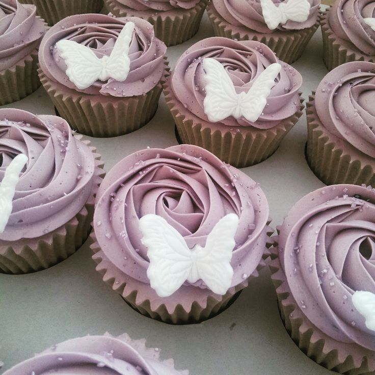 Butterfly, rose swirl cupcakes