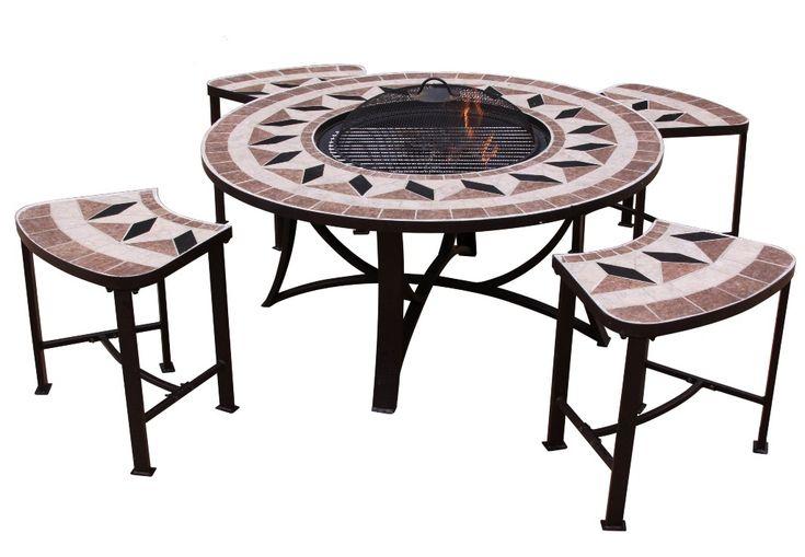 """Tavolo rotondo """"Aefelina""""(100cm) – con braciere e 4 sedie"""
