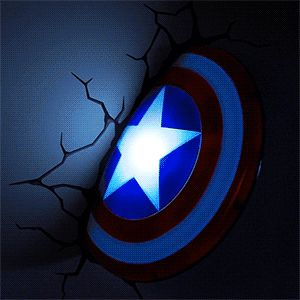 Lit Up  --- Hulk, Iron Man, Thor, Cap, Spidey -- Wall sticker makes it look like it's stuck in the wall, and it glows! SHUT UP AND TAKE MY MONEY!!!!