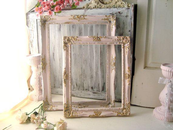 Pink Vintage Ornate Frames, Light Pink And Gold Open Frame