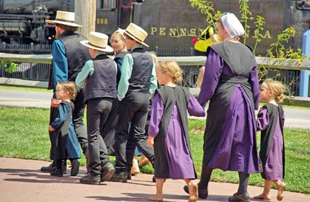 Amish family out for a stroll...