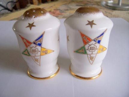 Order of Eastern Star Salt and Pepper Set, Vintage China, Made in England by Royal Stafford by TrashMaMa on Etsy