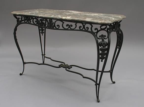 1920s Iron & Marble Console Table Spanish Revival Deco Mediterranean (2408)…