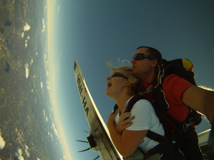 Exiting the plane at 15,000ft! The highest tandem skydive in Australia!
