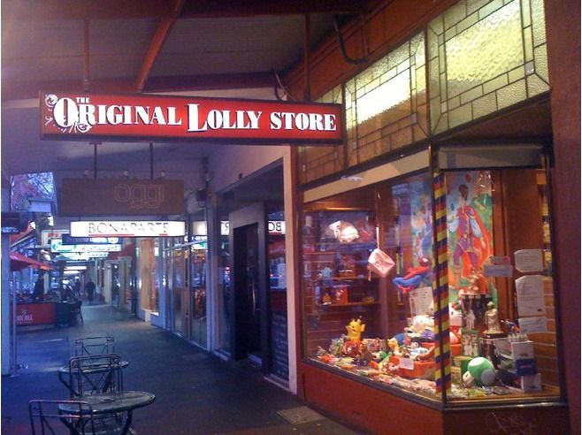 Opened originally by the Cohens in 1939 Lolly Shop Rathdowne St Carlton Melbourne Victoria Australia .